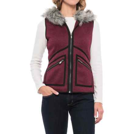 Icelandic Design Hooded Vail Vest - Faux-Fur Trim (For Women) in Merlot - Closeouts