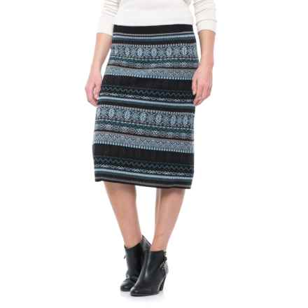 Icelandic Design Jewel Patterned Skirt - Wool Blend (For Women) in Grey - Closeouts