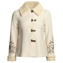 Icelandic Design Nika Boiled Wool Jacket - Cotton Shearling Trim (For Women) in Natural - Closeouts