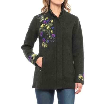Icelandic Design Pastorale Embroidered Jacket - Boiled Wool, Zip Front (For Women) in Green - Closeouts