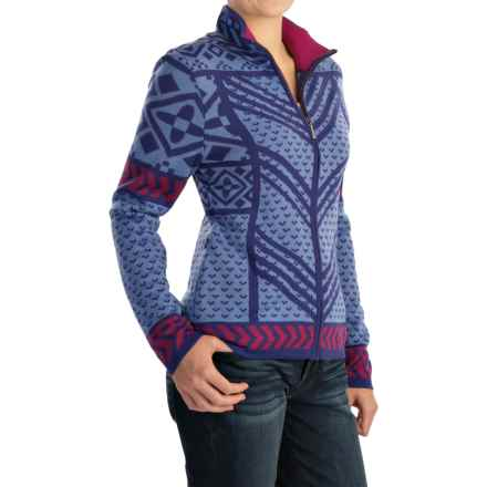 Icelandic Design Remy Cardigan Sweater - Wool, Full Zip (For Women) in Blue - Closeouts