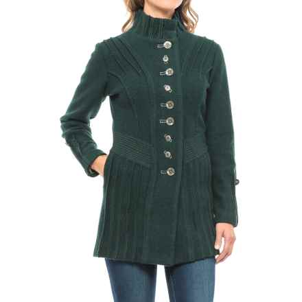 Icelandic Design Ridged Bailey Jacket - Boiled Wool, Snap Front (For Women) in Green - Closeouts