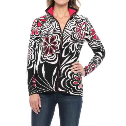 Icelandic Design Serendipity Abstract Floral Cardigan Sweater - Zip Front (For Women) in Black - Closeouts