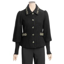 Icelandic Design Tyra Boiled Wool Jacket - Embroidered, Rib 3/4 Sleeve (For Women) in Black - Closeouts