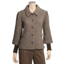 Icelandic Design Wool Tweed Jacket - Lined, Ribbed Sleeves (For Women) in Brown - Closeouts