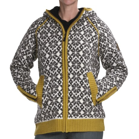 Icewear Helga Hooded Sweater Jacket - New Wool (For Women) in Limeade