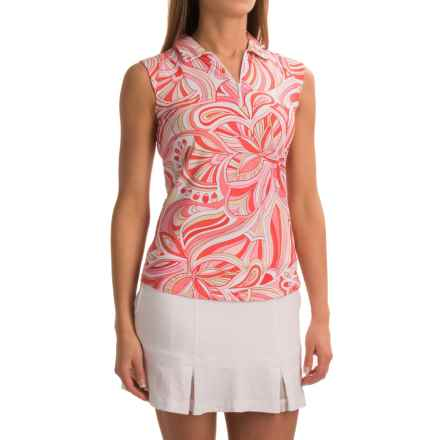 ICIKULS Camila Print Polo Shirt - Sleeveless (For Women) in Camilia Coral - Closeouts