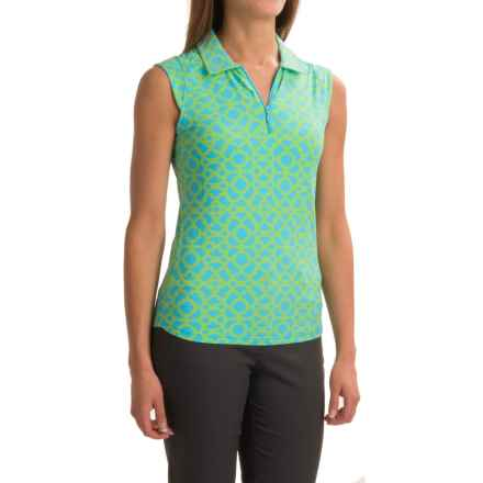 ICIKULS Lattice Print Polo Shirt - UPF 50, Sleeveless (For Women) in Light Turquoise/Lime - Closeouts