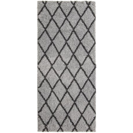 "Iconic Home Patterned Shag Rug - 22x54"" in Light Grey/Grey"