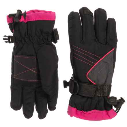 Igloos Microwindex Ski Gloves - Waterproof, Insulated (For Girls) in Black / Pink - Closeouts