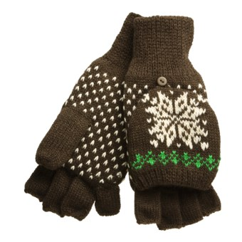 Igloos Pop Top Mittens - Fleece Lining (For Women) in Chocolate Brown