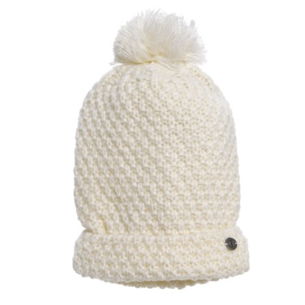 b4e9257b Igloos Solid Knit Beanie with Pompom (For Little Girls) in Cream - Closeouts
