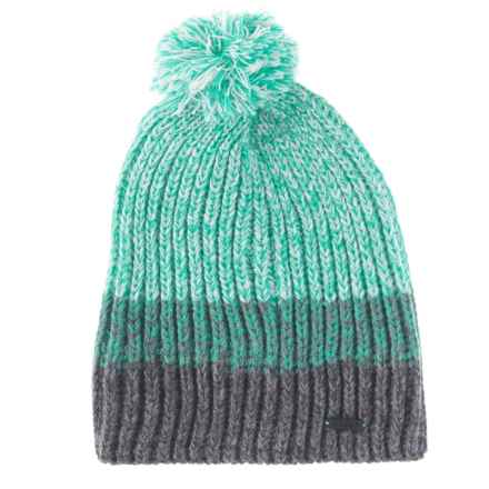 Igloos Two-Color Marl-Yarn Beanie (For Big Girls) in Green/Dark Grey - Closeouts