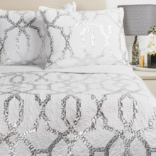 IIvy Hill Home Trellis Quilt Set - King in Whisper White/Metallic Silver - Overstock
