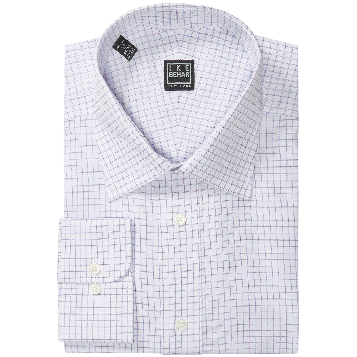 Ike behar black label check dress shirt long sleeve for for Design your own t shirt big and tall