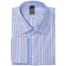 Ike Behar Black Label Colorful Stripe Dress Shirt - Slim Fit, French Cuffs, Long Sleeve (For Men) in Forest Berry - Closeouts