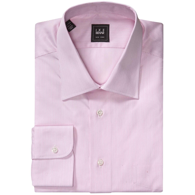 Ike behar black label dress shirt hairline stripe long for Mens dark pink dress shirt