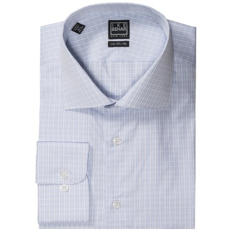 Ike Behar Black Label Mini Check Dress Shirt - Long Sleeve (For Men) in Light Blue