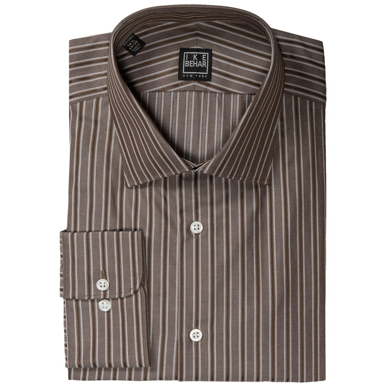 Ike behar black label stripe dress shirt long sleeve for Mens chocolate brown dress shirt