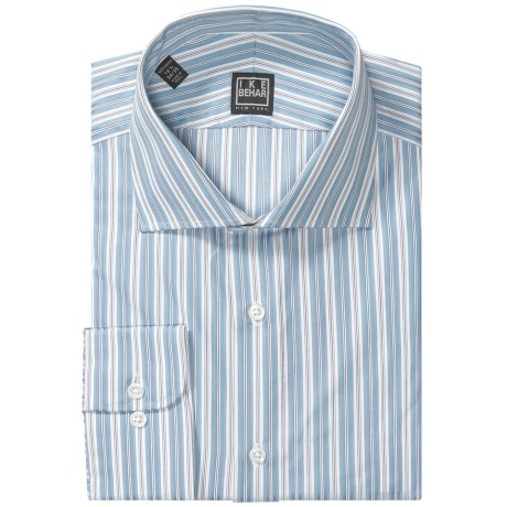 Ike Behar Black Label Stripe Spread Collar Dress Shirt - Long Sleeve (For Men) in Blue/White