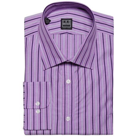 Ike Behar Black Label Track Stripe Dress Shirt - Long Sleeve (For Men) in Purple Dusk