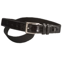 Ike Behar Elastic Web Faux-Croc Tab Belt - 32mm (For Men) in Black - Closeouts