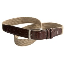 Ike Behar Elastic Web Faux-Croc Tab Belt - 32mm (For Men) in Khaki - Closeouts