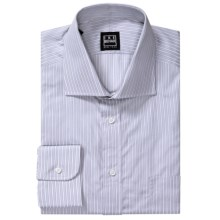 Ike Behar Herringbone Stripe Dress Shirt - Spread Collar, Barrel Cuffs, Long Sleeve (For Men) in Seagull - Closeouts