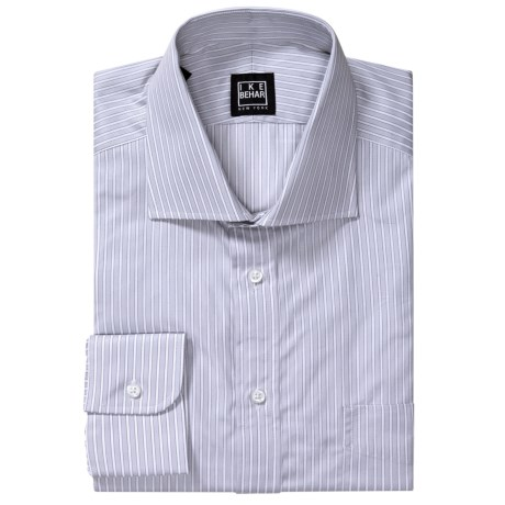 Ike Behar Herringbone Stripe Dress Shirt - Spread Collar, Barrel Cuffs, Long Sleeve (For Men) in Seagull