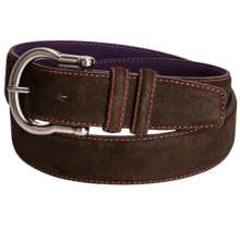 Ike Behar Italian Suede Belt - Contrast Stitching (For Men) in Brown W/Orange Stitch - Closeouts