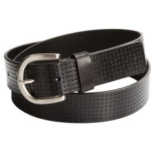 Ike Behar Perforated Leather Belt - 35mm (For Men) in Black - Closeouts