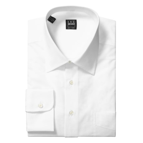 Ike Behar Point Collar Stripe Dress Shirt - Barrel Cuffs, Long Sleeve (For Men) in White
