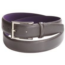 Ike Behar Saffiano Leather Belt - 32mm (For Men) in Grey - Closeouts