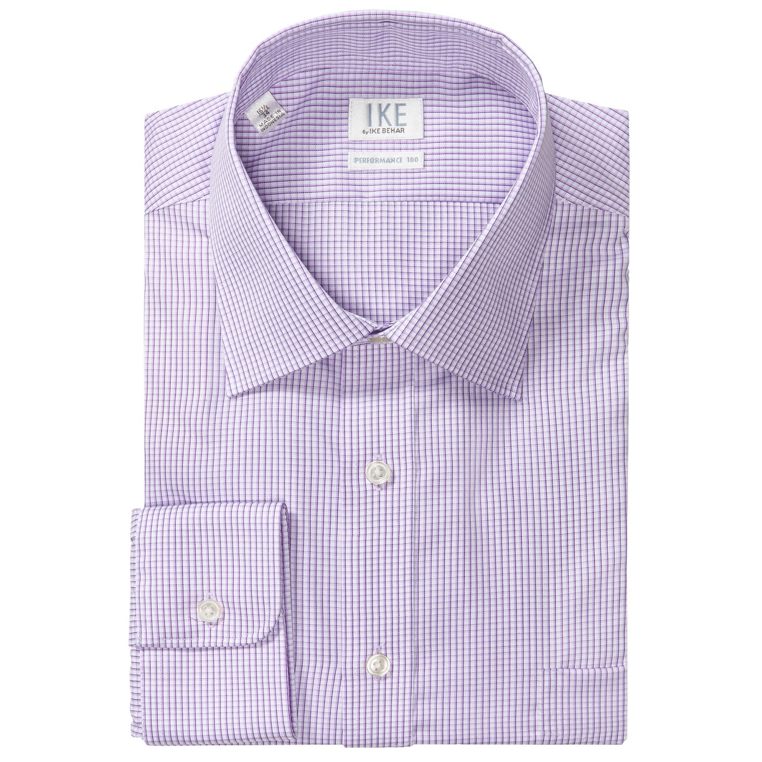 Ike by ike behar check dress shirt no iron cotton long for Mens no iron dress shirts