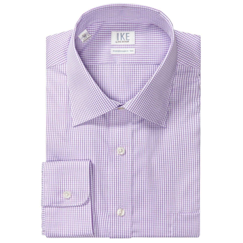 Ike by ike behar check dress shirt no iron cotton long for No iron dress shirts for men