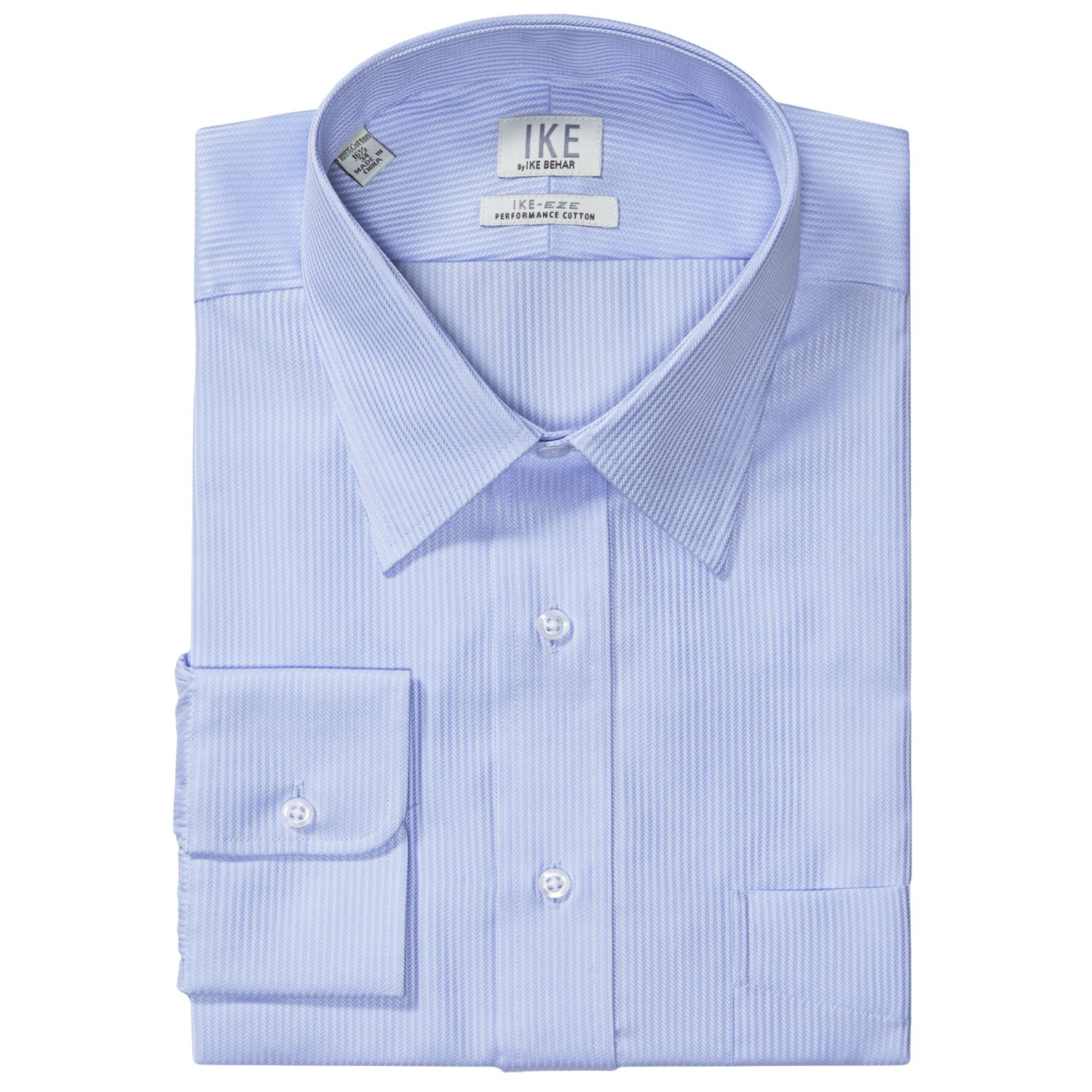 Ike by ike behar herringbone dress shirt no iron cotton for Mens no iron dress shirts