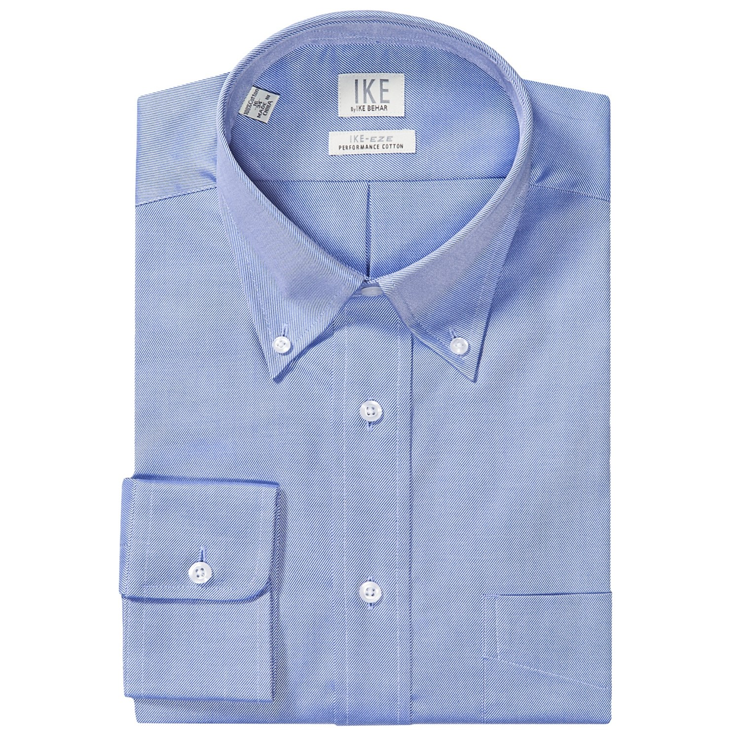 Ike by ike behar no iron solid twill dress shirt button for Mens no iron dress shirts