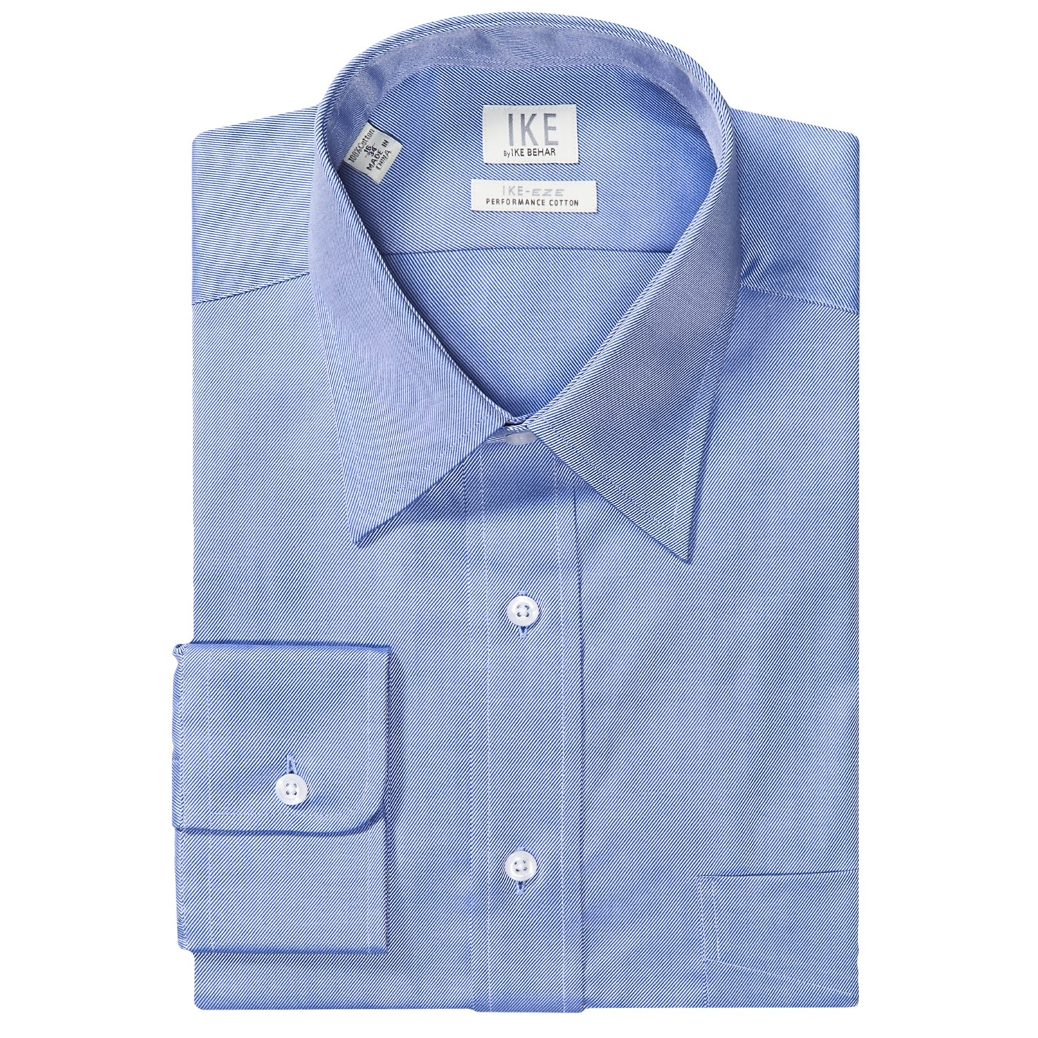 Ike by ike behar no iron solid twill dress shirt point for Mens no iron dress shirts