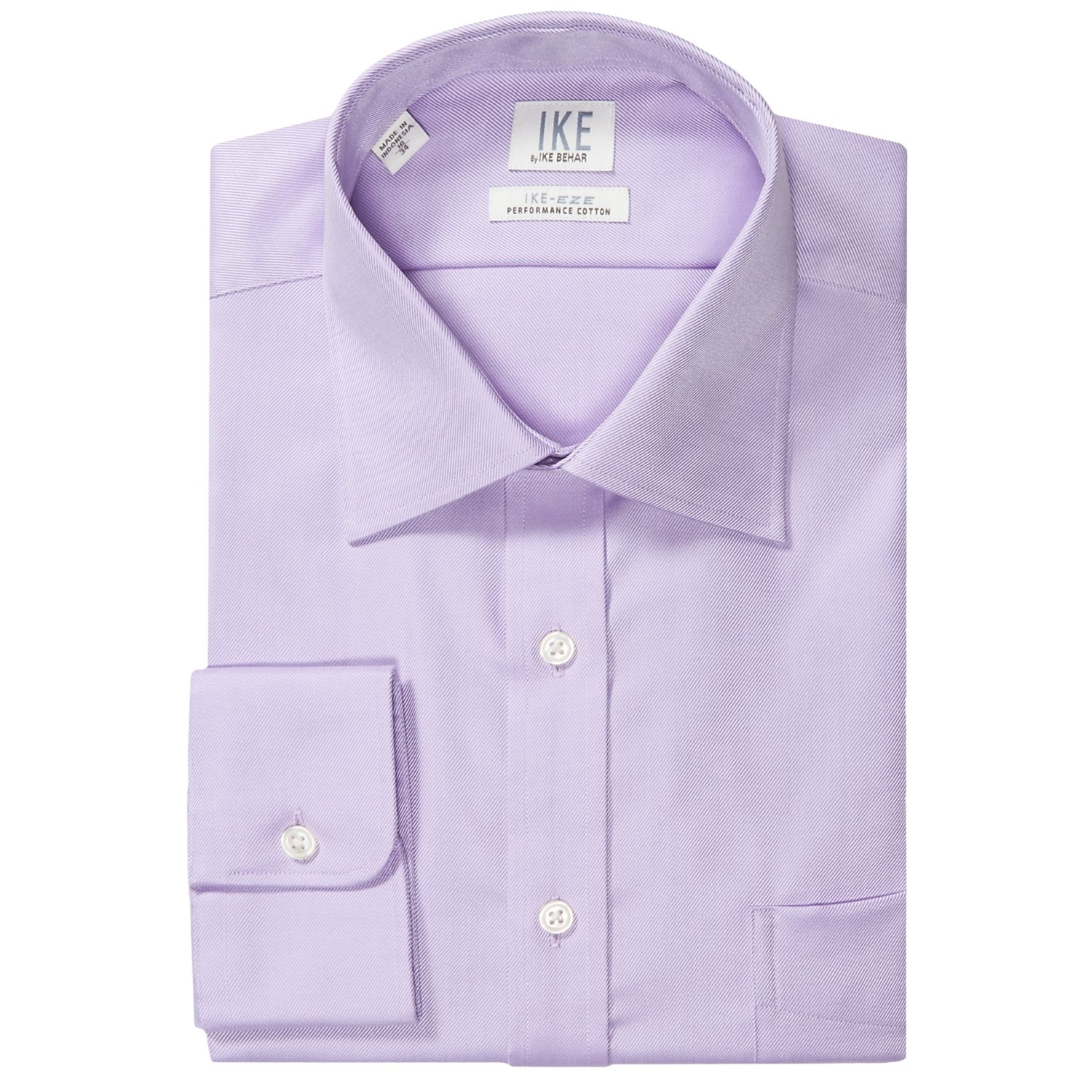 Ike by ike behar no iron solid twill dress shirt spread for Mens no iron dress shirts