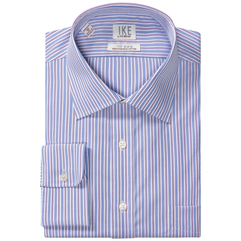 Ike by ike behar stripe dress shirt ike eze performance for No iron cotton shirts