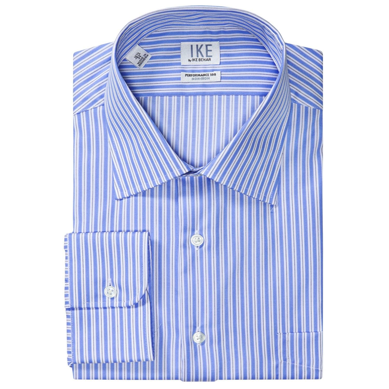 Ike by ike behar stripe dress shirt no iron cotton long for No iron dress shirts for men