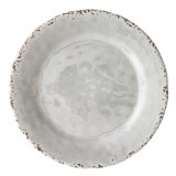 "Il Mulino Rusted Crackle 11"" Light Grey Melamine Dinner Plate"