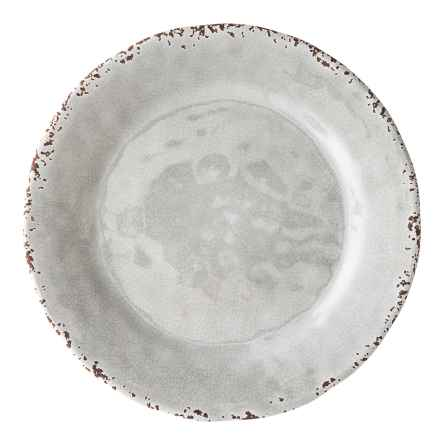 """Il Mulino Rusted Crackle 11"""" Light Grey Melamine Dinner Plate in Light Grey - Overstock"""