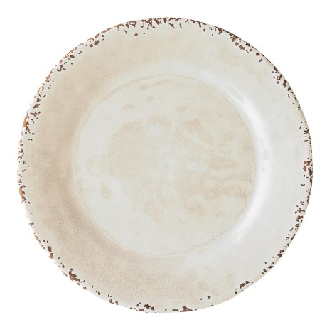 "Il Mulino Rusted Crackle Cream Melamine Dinner Plate - 11"" in Cream"