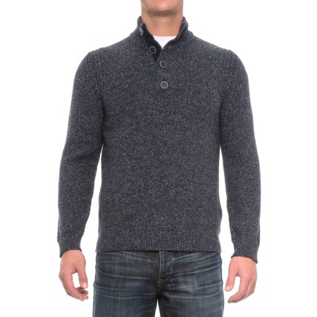Immagini Button-Neck Marled Sweater (For Men) in Blue