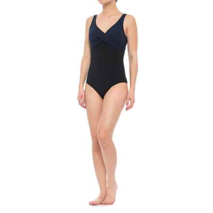 Immerse Anita Duo Plains One-Piece Swimsuit - Padded Cups (For Women) in Black/Navy - Closeouts