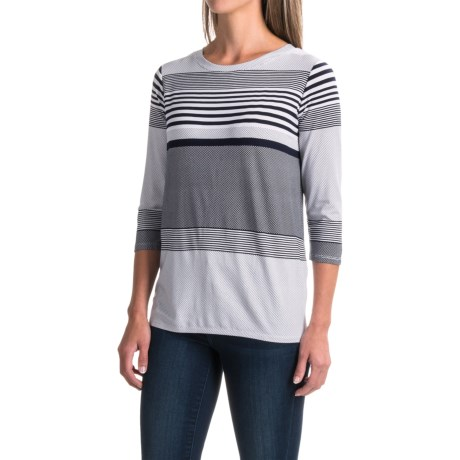Imove Stripe and Polka-Dot Shirt - 3/4 Sleeve (For Women) in Navy