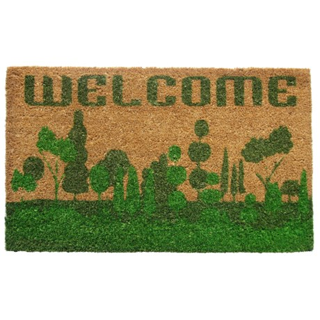 "Imports Décor Welcome Nature Coir Doormat - 18x30"" in Natural/Green"