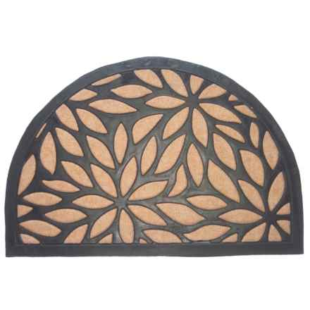 "Imports Decor Half Round Doormat - 24x16"" in Brown Petals - Closeouts"