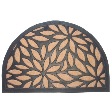 "Imports Decor Half Round Doormat - 24x16"" in Brown Petals"